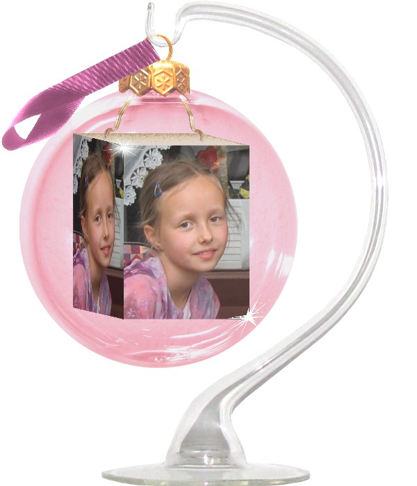 Glass stand for a photo-bauble