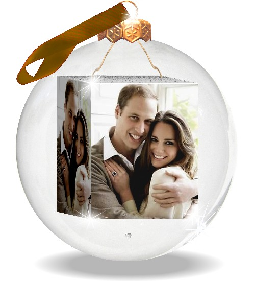 Photo-christmas-bauble with photos of william and kate